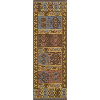 Ridge Manor Hand Woven Gold/Brown Outdoor Area Rug Rug Size: Runner 26 x 8