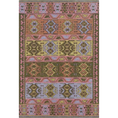 Ridge Manor Hand Woven Blush/Dark Green Outdoor Area Rug Rug Size: Rectangle 5 x 76