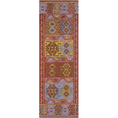 Ridge Manor Hand Woven Bright Red/Blush Outdoor Area Rug Rug Size: Runner 2'6