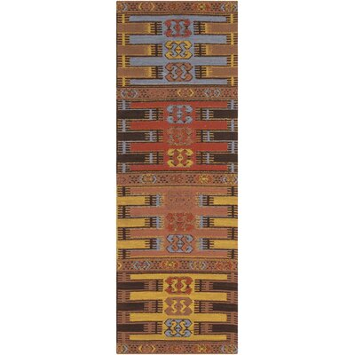 Ridge Manor Hand Woven Brown/Gold Outdoor Area Rug Rug Size: Runner 26 x 8