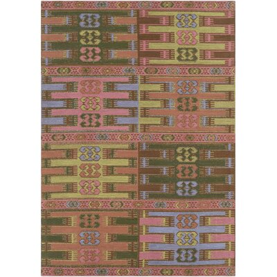Ridge Manor Hand Woven Blush/Emerald Outdoor Area Rug Rug Size: Rectangle 5 x 76