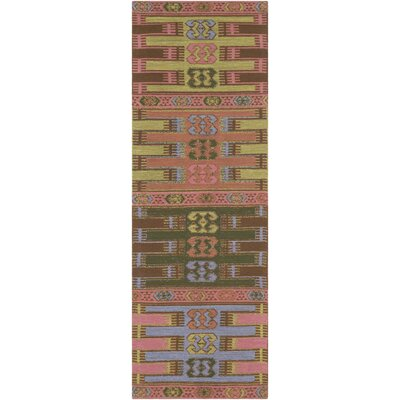 Ridge Manor Hand Woven Blush/Emerald Outdoor Area Rug Rug Size: Runner 2'6