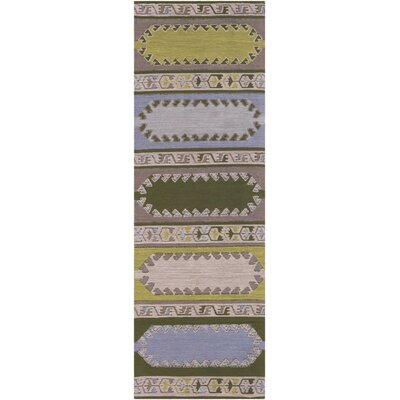 Ridge Manor Transitional Hand Woven Lime/Brown Outdoor Area Rug Rug Size: Runner 26 x 8