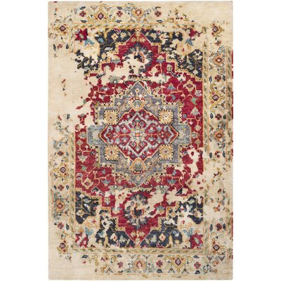 Richelieu Bohemian Distressed Hand Knotted Dark Red/Brown Area Rug Rug Size: Rectangle 2 x 3