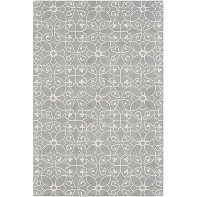Arison Hand Hooked Wool Medium Gray/Cream Area Rug Rug Size: Rectangle 6 x 9