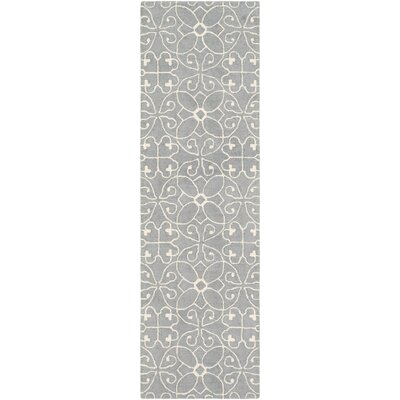 Arison Hand Hooked Wool Medium Gray/Cream Area Rug Rug Size: Rectangle 25 x 8