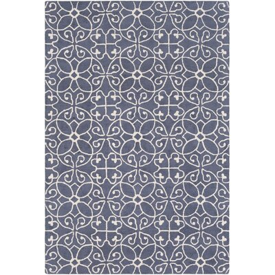 Arison Traditional Hand Hooked Wool Dark Blue Area Rug Rug Size: Rectangle 5 x 76