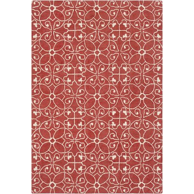 Arison Medallions and Damask Hand Hooked Wool Rust Area Rug Rug Size: Rectangle 5 x 76