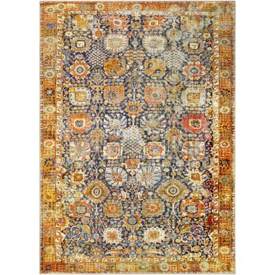 Wyclif Traditional Floral Bright Yellow/Brown Area Rug Rug Size: Rectangle 2 x 3