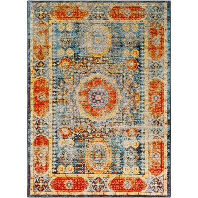Wyclif Bright Orange/Aqua/Bright Yellow Area Rug Rug Size: Rectangle 53 x 73