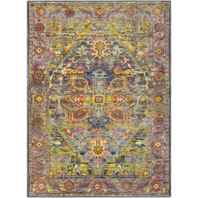 Wyclif Traditional Overdyed Lime/Bright Yellow Area Rug Rug Size: Rectangle 53 x 73