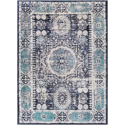 Wyclif Traditional Distressed Bright Blue/Black Area Rug Rug Size: Rectangle 710 x 103