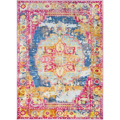 Wyclif Traditional Overdyed Bright Pink/Bright Red Area Rug Rug Size: Rectangle 710 x 103