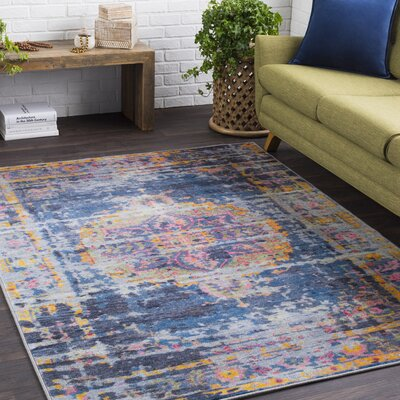 Wyclif Traditional Overdyed Bright Blue/Medium Gray Area Rug Rug Size: Rectangle 53 x 73