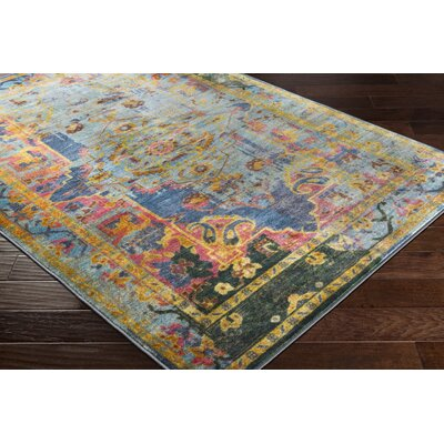 Wyclif Blue/Lime Area Rug Rug Size: Rectangle 53 x 73
