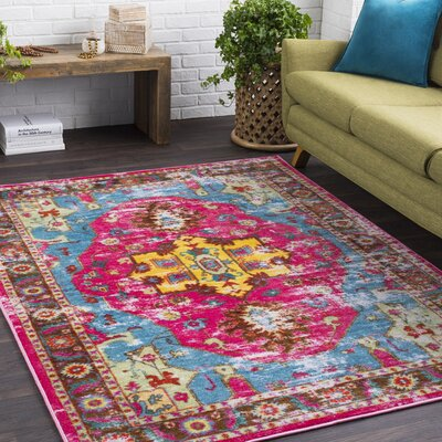 Wyclif Bright Pink/Aqua Area Rug Rug Size: Rectangle 2 x 3
