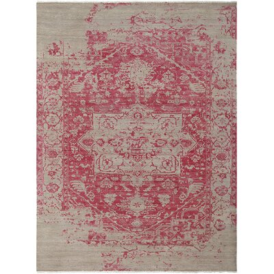 Ocracoke Distressed Floral Hand Wool Knotted Pink/Khaki Area Rug Rug Size: Rectangle 6 x 9
