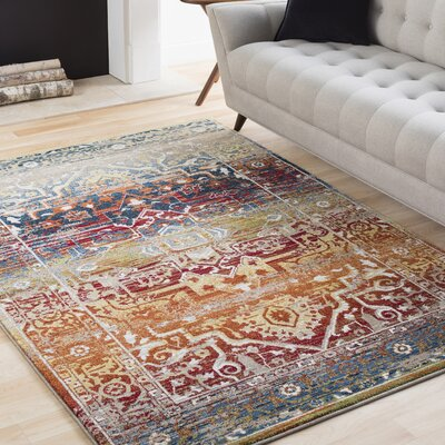 Ridgecrest Overdyed Distressed Dark Red/Tan Area Rug Rug Size: Rectangle 93 x 126