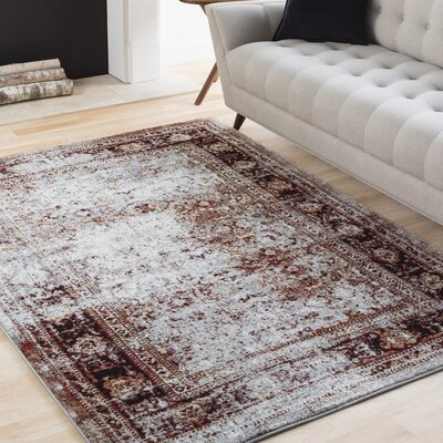 Ridgecrest Distressed Vintage Dark Red/White Area Rug Rug Size: Rectangle 710 x 106