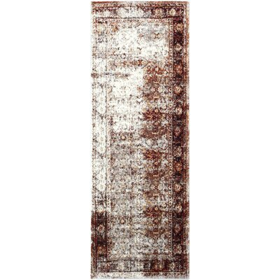 Ridgecrest Distressed Vintage Dark Red/White Area Rug Rug Size: Runner 27 x 73