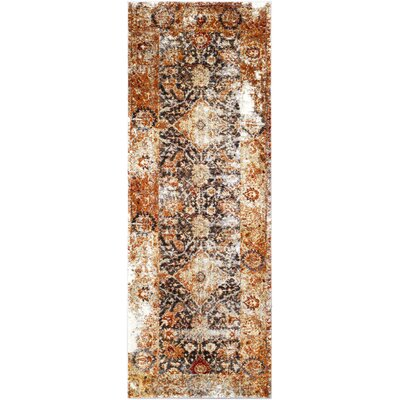 Ridgecrest Distressed Vintage Orange/Black Area Rug Rug Size: Runner 27 x 73