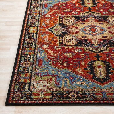 Ridgecrest Vintage Oriental Dark Red/Black Area Rug Rug Size: Rectangle 53 x 73