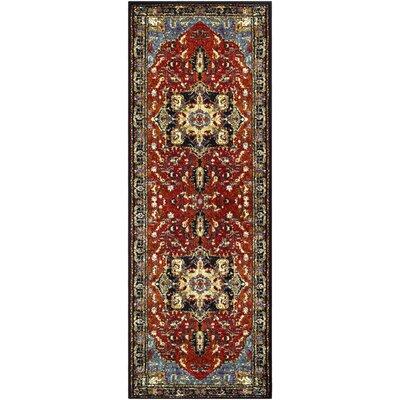 Ridgecrest Vintage Oriental Dark Red/Black Area Rug Rug Size: Runner 27 x 73