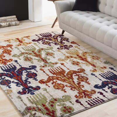 Ridgecrest Bright Orange/Tan Area Rug Rug Size: Rectangle 53 x 73