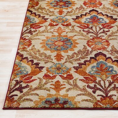 Arkin Vintage Floral Red/Tan Area Rug Rug Size: Rectangle 2 x 3