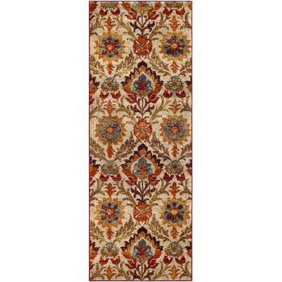 Arkin Vintage Floral Red/Tan Area Rug Rug Size: Runner 27 x 73