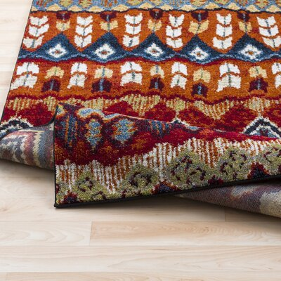 Ridgecrest Bright Red/Brown Blue Area Rug Rug Size: Rectangle 93 x 126