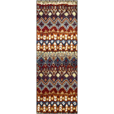 Ridgecrest Bright Red/Brown Blue Area Rug Rug Size: Runner 27 x 73