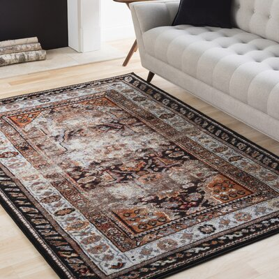 Ridgecrest Brown/Black Area Rug Rug Size: Rectangle 2 x 3