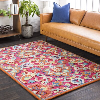 Withams Floral Hand Tufted Wool Bright Pink/Coral Area Rug Rug Size: Rectangle 5 x 76