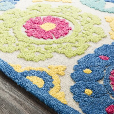 Withams Floral Hand Tufted Wool Aqua/Bright Blue Area Rug Rug Size: Rectangle 5 x 76