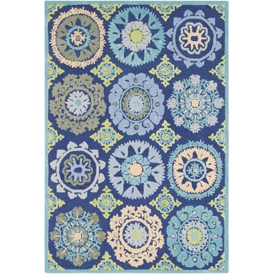 Withams Floral Hand Tufted Wool Dark Blue/Light Gray Area Rug Rug Size: Rectangle 5 x 76