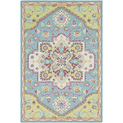 Withams Floral Hand Tufted Wool Mint/Lime Area Rug Rug Size: Rectangle 5 x 76