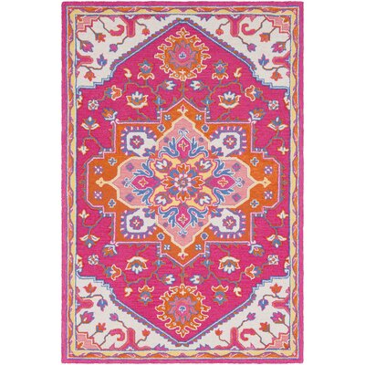 Withams Hand Tufted Wool Bright Pink/Bright Orange Area Rug Rug Size: 2' x 3'