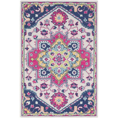 Withams Floral Hand Tufted Wool Bright Pink/Dark Blue Area Rug Rug Size: Rectangle 5 x 76