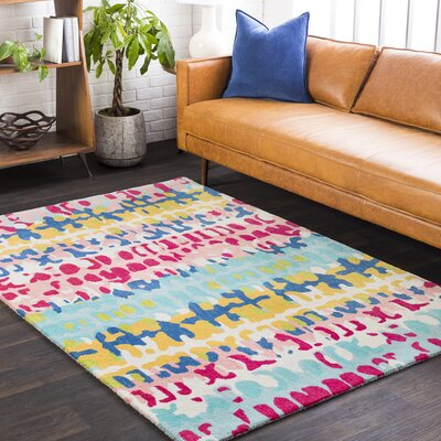 Axelle Abstract Hand Tufted Wool Saffron/Blue Area Rug Rug Size: Rectangle 2 x 3