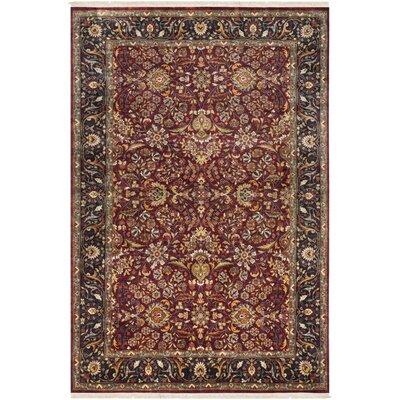 Fernwood Oriental Hand Knotted Wool Garnet/Dark Brown Area Rug Rug Size: 56 x 86