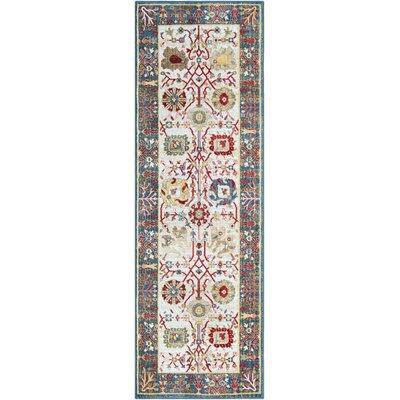 Napa Navy/White Floral Area Rug Rug Size: 710 x 910