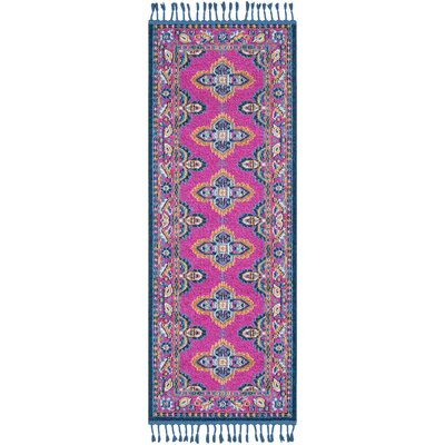Ripon Traditional Bright Pink/Navy Area Rug Rug Size: Runner 27 x 73