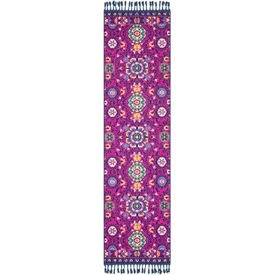 Ripon Bright Pink/Navy Area Rug Rug Size: Runner 27 x 73
