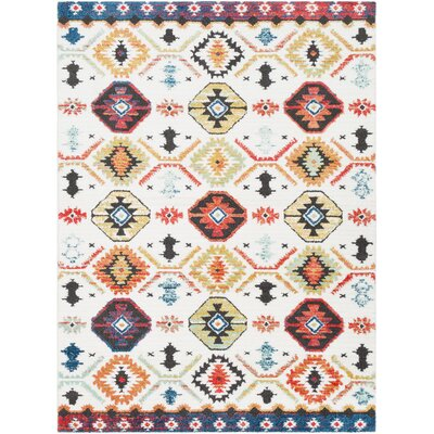 Rhodes Bohemian Ivory/Burnt Orange Area Rug Rug Size: Rectangle 53 x 73