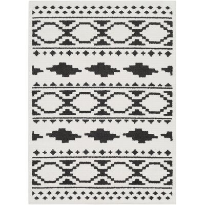 Rhodes Bohemian Ivory/Black Area Rug Rug Size: Rectangle 53 x 73