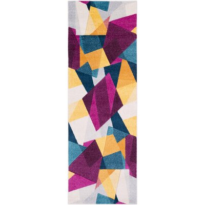 Bieker Modern Geometric Purple/Blue Area Rug Rug Size: Runner 27 x 76