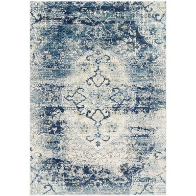 West Sacramento Vintage Distressed Navy Blue Area Rug Rug Size: Rectangle 53 x 76