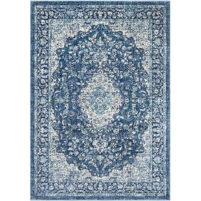 Grace Traditional Navy/Blue Area Rug Rug Size: Rectangle 2 x 3