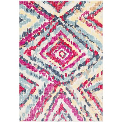 Aule Vibrant Distressed Pink/Bright Red Area Rug Rug Size: Rectangle 53 x 76